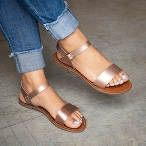 👠 Rose Gold Single Strap Flat Sandals - Kim